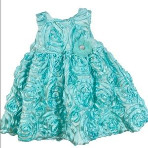 Holiday Editions Turquoise Floral Ruffle Dress